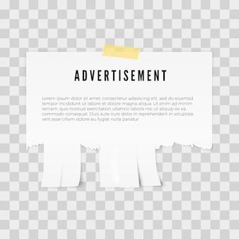 Modelo de papel destacável de anúncio com espaço de cópia para o texto