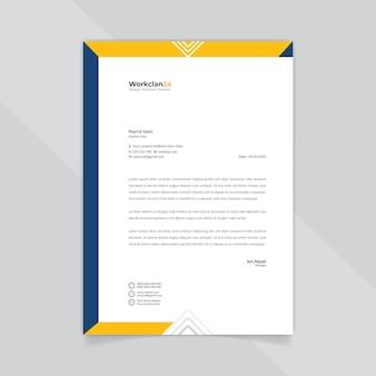 Modelo de papel timbrado abstrato azul e laranja de negócios.