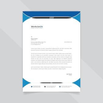 Modelo de papel timbrado - abstrato azul e preto de negócios.