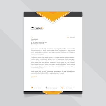 Modelo de papel timbrado abstrato preto e laranja de negócios.