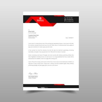 Modelo de papel timbrado comercial vermelho e preto