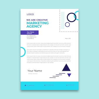Modelo de papel timbrado da agência de marketing