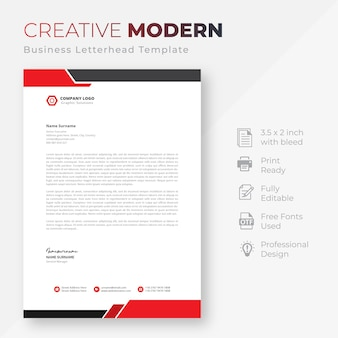 Modelo de papel timbrado da empresa moderna