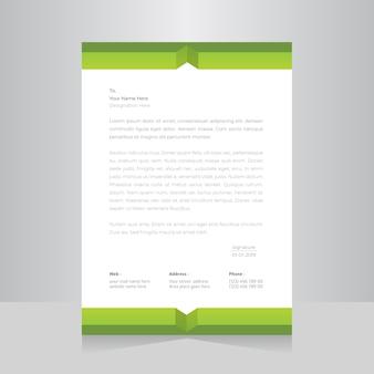 Modelo de papel timbrado de cor verde.