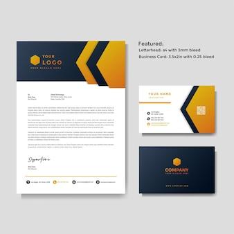 Modelo de papel timbrado e cartão de visita criativo profissional