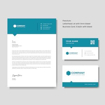 Modelo de papel timbrado e cartão de visita profissional criativo