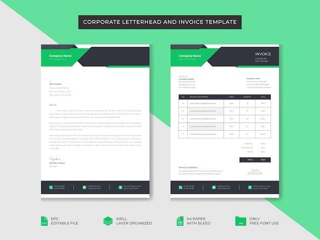 Modelo de papel timbrado e de fatura de negócios corporativos modelo de design de identidade de marca comercial