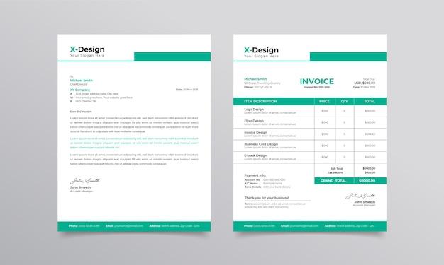 Modelo de papel timbrado e fatura de negócios corporativos modelo de design de identidade de marca comercial