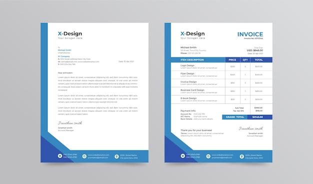 Modelo de papel timbrado e fatura de negócios corporativos. papelaria de marca profissional para negócios