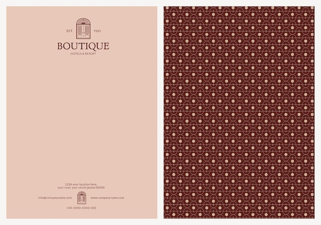 Modelo de papel timbrado editável de design de identidade corporativa para boutique e resort