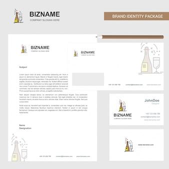Modelo de papel timbrado, envelope e cartão de visita de negócios de bebidas