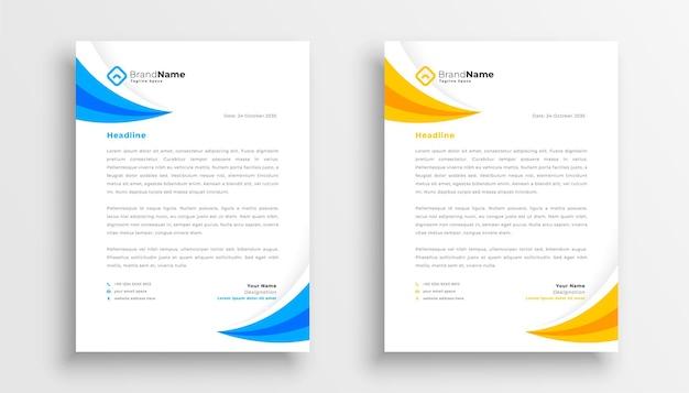 Modelo de papel timbrado moderno em amarelo e azul