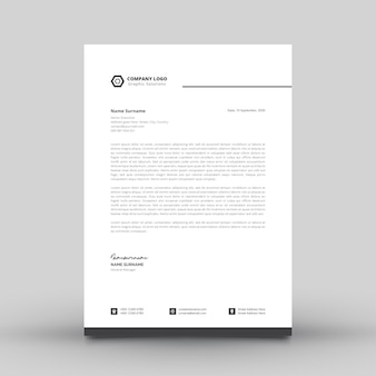 Modelo de papel timbrado simples e moderno para empresa