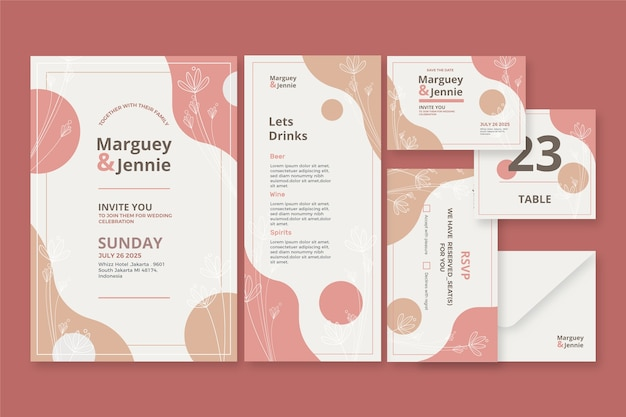 Modelo de papelaria casamento