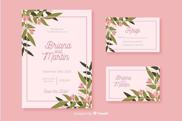 Modelo de papelaria de casamento design plano
