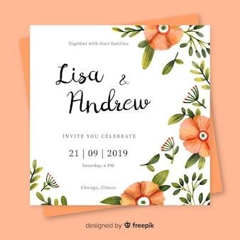 Modelo de papelaria de casamento floral aquarela
