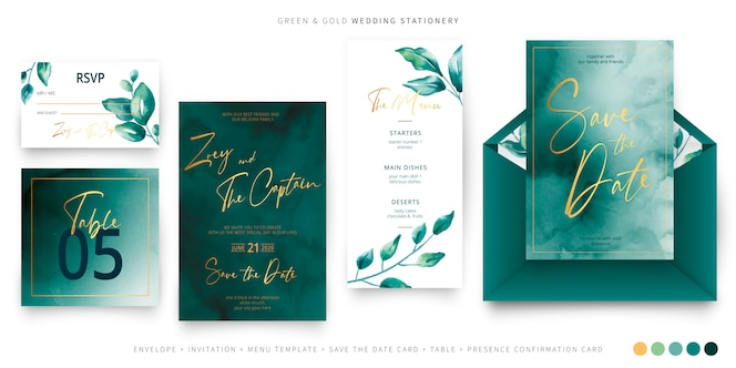 Modelo de papelaria de casamento verde e dourado