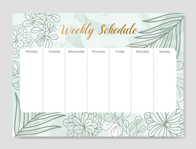 Modelo de papelaria de cronograma de planejador semanal floral