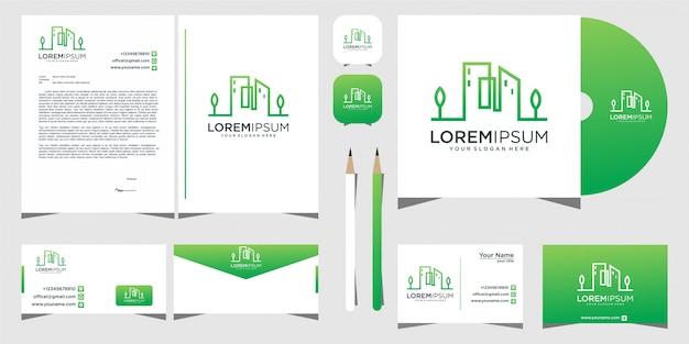 Modelo de papelaria de design de logotipo de folha de construção