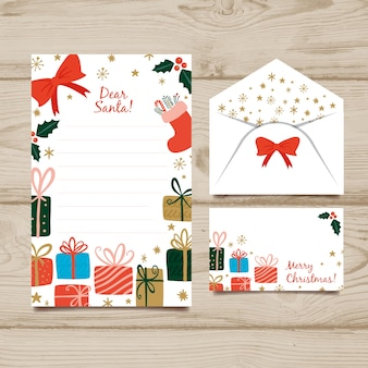 Modelo de papelaria mão desenhada natal