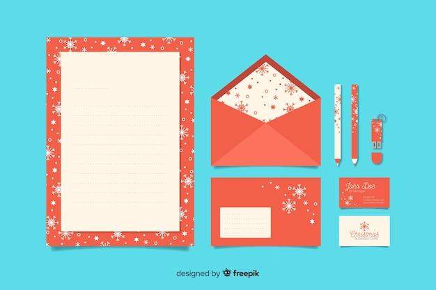 Modelo de papelaria natal design plano
