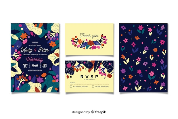 Modelo de papelaria plana floral casamento
