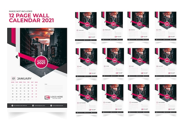 Modelo de parede 2021 de 12 páginas