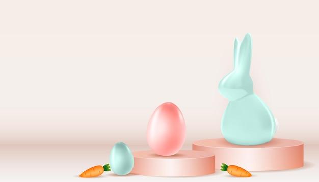 Modelo de páscoa com coelho de ovos de páscoa realista em 3d e modelo de cenoura