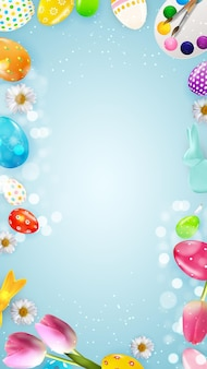 Modelo de páscoa com pintura de ovos realistas 3d.