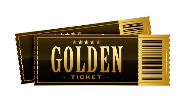 Modelo de passe de filme de bilhetes de cinema dourado vintage