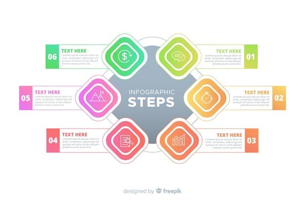Modelo de passos gradiente infográfico