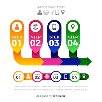 Modelo de passos infográfico rótulos plana