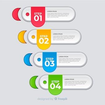 Modelo de passos modernos infográfico colorido