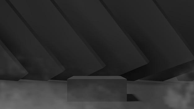 Modelo de pedestal mínimo escuro com formas geométricas