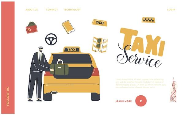 Modelo de pedido de táxi na página de destino da cidade