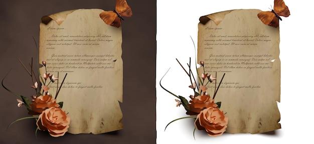 Modelo de pergaminho realista com linda flor e borboleta