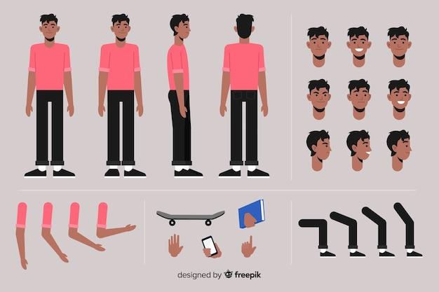 Modelo de personagem de homem dos desenhos animados