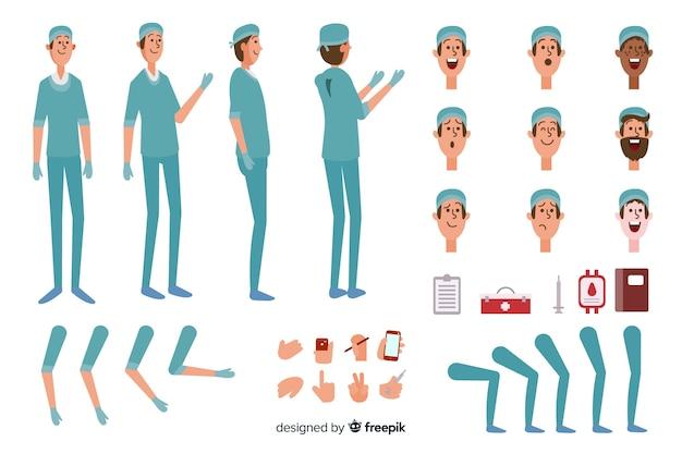 Modelo de personagem de médico dos desenhos animados
