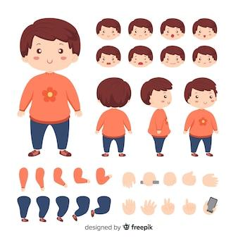 Modelo de personagem de menina bonito dos desenhos animados