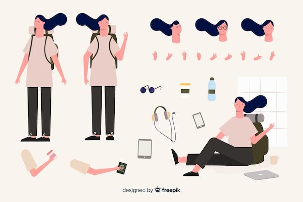 Modelo de personagem de menina de viajante dos desenhos animados