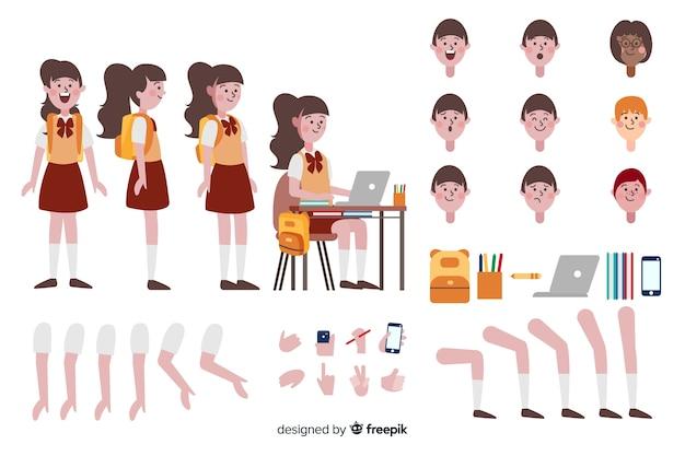 Modelo de personagem de menina dos desenhos animados