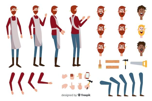 Modelo de personagem de menino de carpinteiro dos desenhos animados