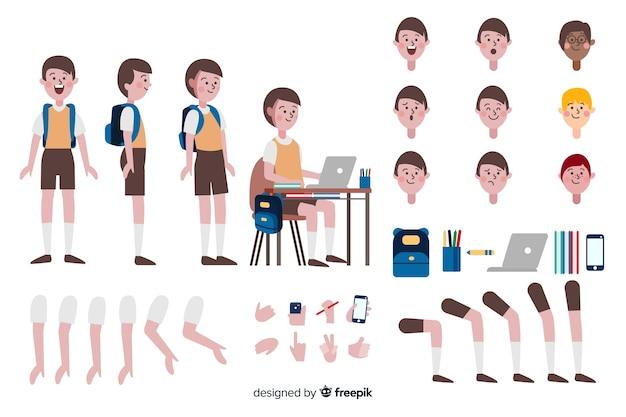 Modelo de personagem de menino dos desenhos animados