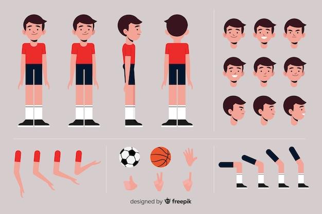 Modelo de personagem de menino esportivo dos desenhos animados