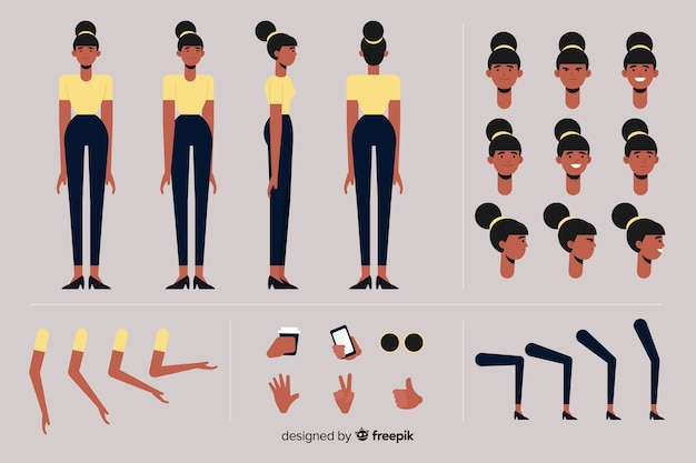 Modelo de personagem de mulher dos desenhos animados