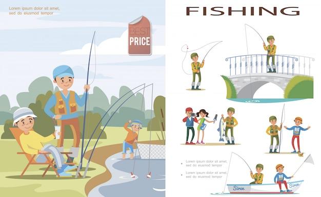 Modelo de pesca plano com pessoas pegando peixes no lago usando vara de pescar e rede arrastão e pescadores em diferentes situações