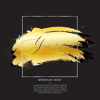 Modelo de pincel aquarela dourada