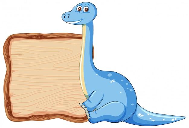 Modelo de placa com dinossauro fofo no fundo branco