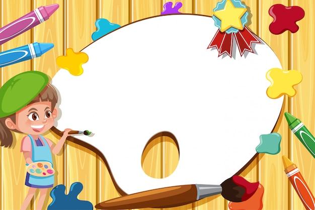 Modelo de placa com garota feliz pintando na parede