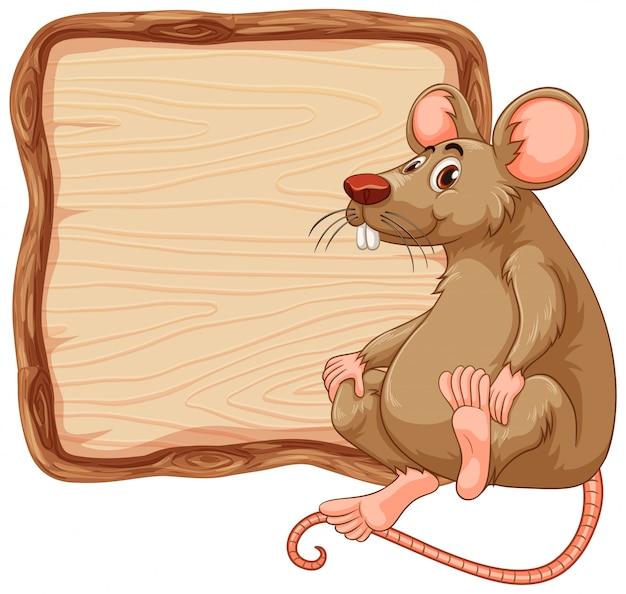 Modelo de placa com rato bonitinho no fundo branco